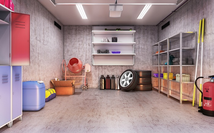 shipping container garage interior