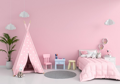 pink bedroom with teepees for girls
