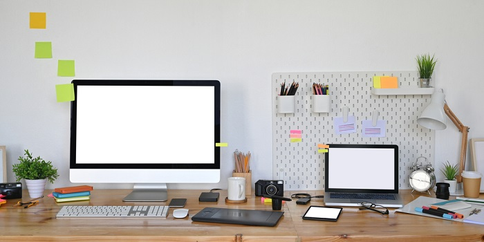 home office desk with gadgets