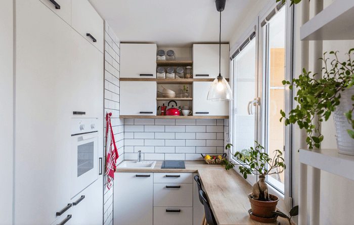 small kitchen with natural light