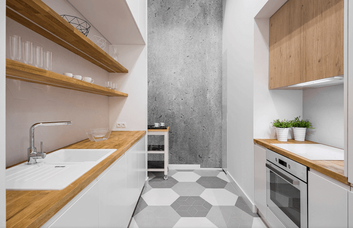 small kitchen with shelves